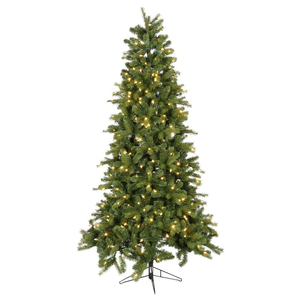 7.5 ft. Pre-Lit LED Wesley Spruce Quick-Set Artificial Christmas Tree with Color Changing Lights