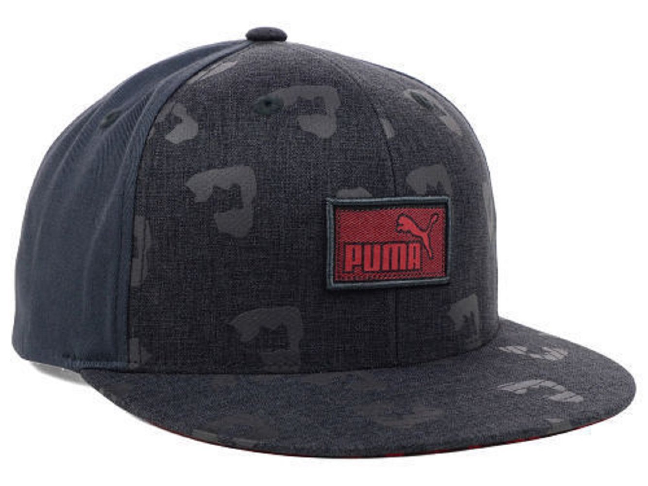 Get Quotations · Puma Animal Print Flat Brim Dark Gray Red Adjustable Snapback  Hat Cap c8a284fe2a84