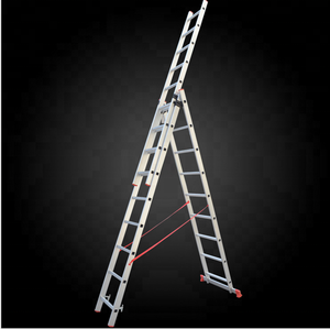 3 section extension step ladder/aluminium ladders with integral stabilizer