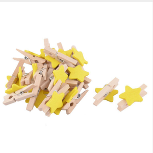 Wholesale simple design of custom size stars love shape pure natural wood clips