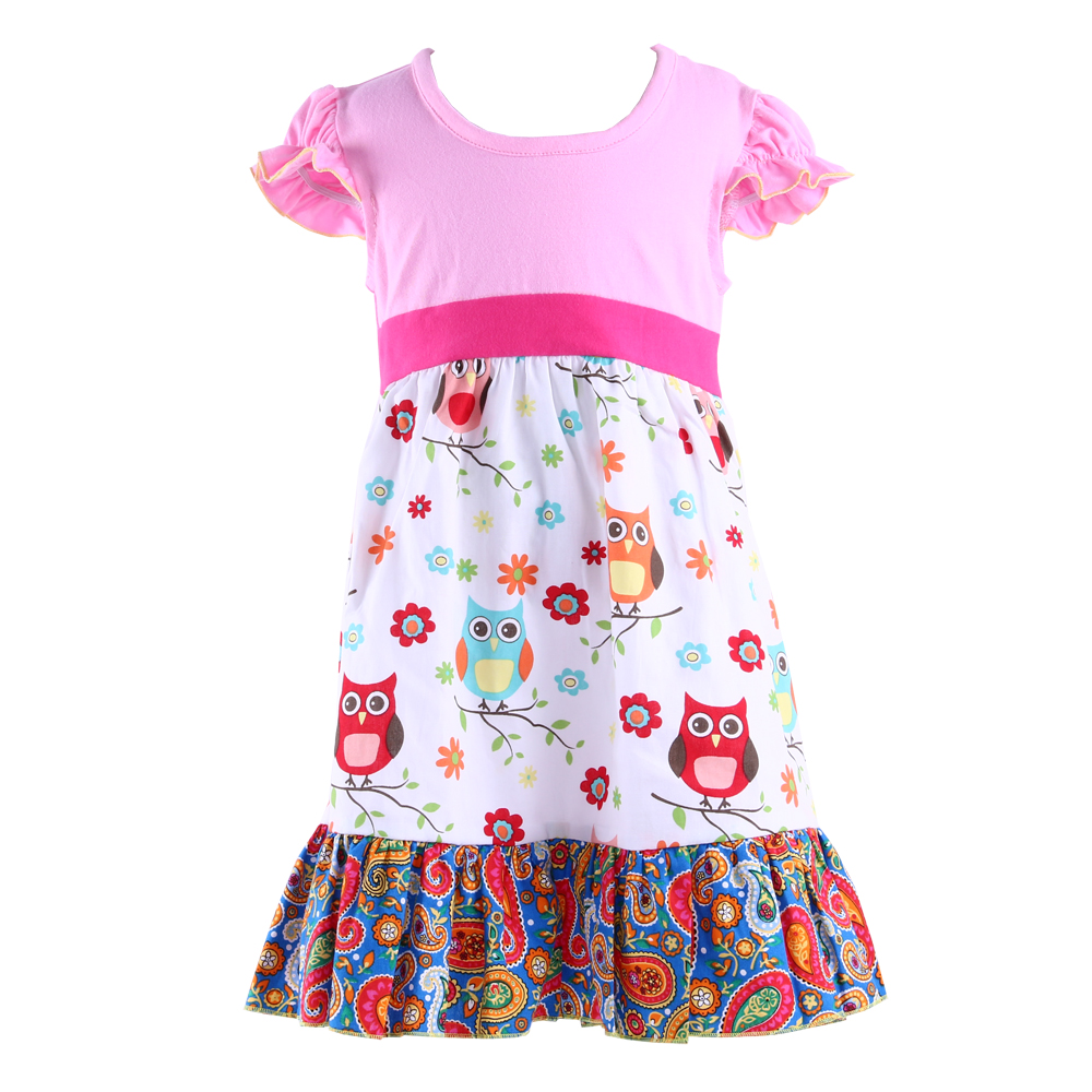 US Style Fashion Design Patterns Baby Dress Knitted Fabric Animal Dress