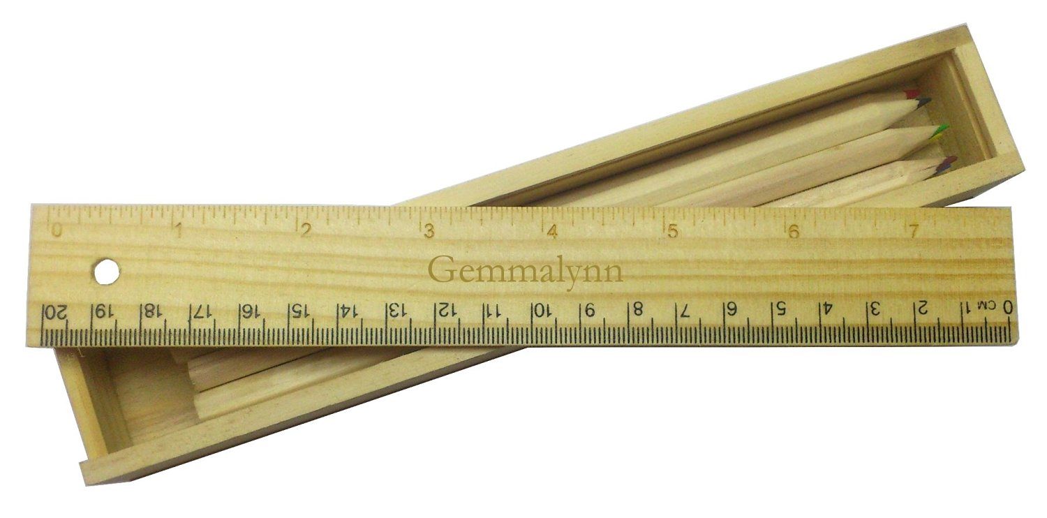 Coloured pencil set with engraved wooden ruler with name Gemmalynn (first name/surname/nickname)