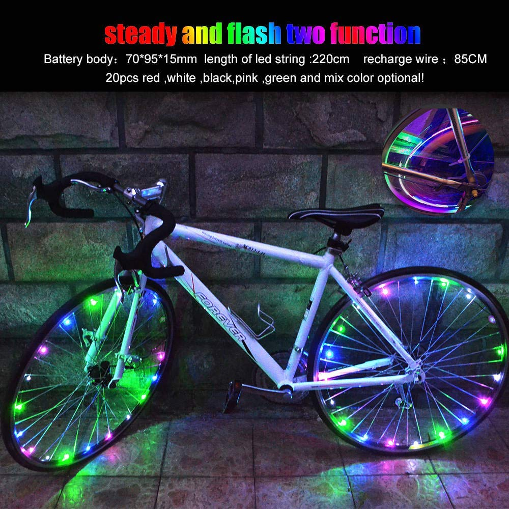 Glumes USB Rechargeable Bike Wheel String Lights, LED Waterproof Bicycle Spoke Light 20 LED 2 Light Modes Bicycle Rim Tire Lights for Mountain Bike/Road Bikes/BMX Bike/Hybrid Bike/Folding Bike Good Gift (Multicolor)