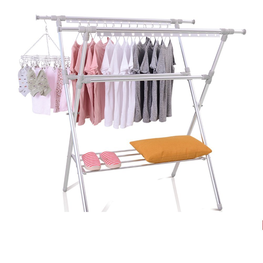 Get Quotations Folding Drying Rack Retractable Hanging Clothes Double Rod Mobile Cooler Hanger