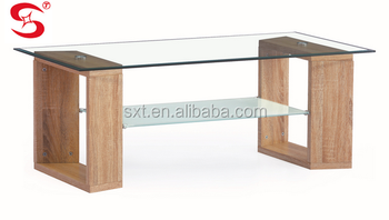 2015 Luxury Modern Design Wooden Coffee Table With Glass Top