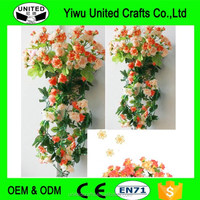 Hanging Wall Artificial Fake Silk Rose Flower Rattan Plant Arches Decor W/Basket
