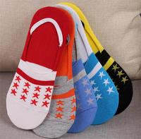 High quality Star pattern no show nonslip loafer socks men