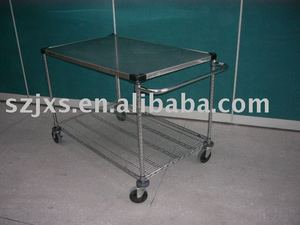 Chrome wire shelving cart,double layer chrome finished wire carts for industry use