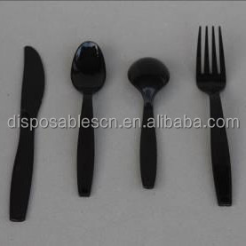 Plastic disposable flatware black color