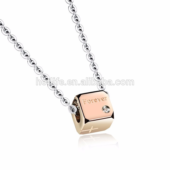 rose gold plated stainless steel jewelry forever engraving women pendent