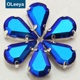 13*8mm hot sale stick on rhinestones sapphire ab color small teardrop sew on rhinestone claw setting crystals for garment
