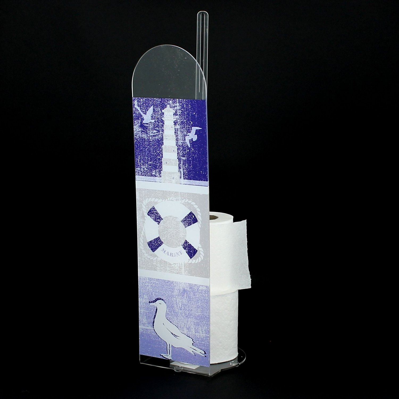 EVIDECO 670155 Key West Bathroom Freestanding Printed Toilet Tissue Paper Roll Holder Reserve 4 Rolls