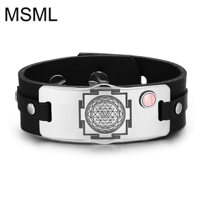 Fashion Steel Engraved Sri Yantra Chakra Leather Bracelet for mother of all yantras