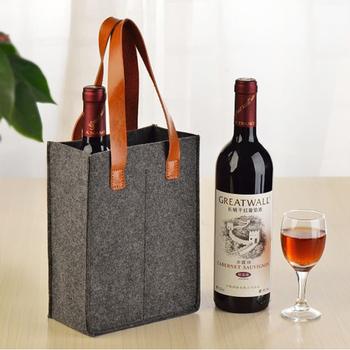 Custom Felt Wine Bottle Bag With Leather Handle Product On