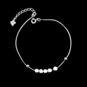 Latest Model Quality Sterling Silver Party Decoration Flat Beads Charm Bracelet Ladies Fancy Accessories Pure Silver Bracelet