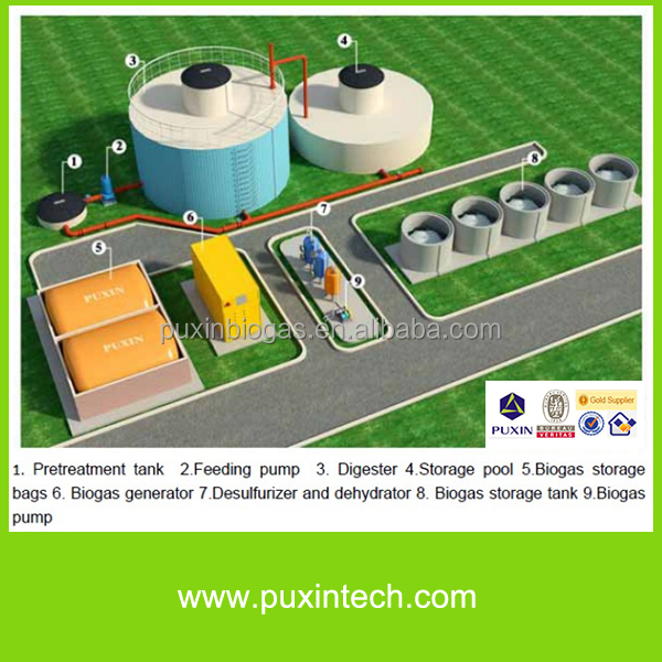 concreted medium scale bio digester power plants for electricity