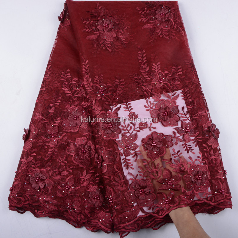 2019 New Style French Net Lace Fabric 3D Flower African Tulle Mesh Lace Fabric High Quality African Lace Fabric 1542