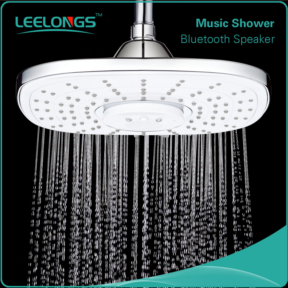 Leelongs 23cm Bluetooth square music shower head with durable loud spearker