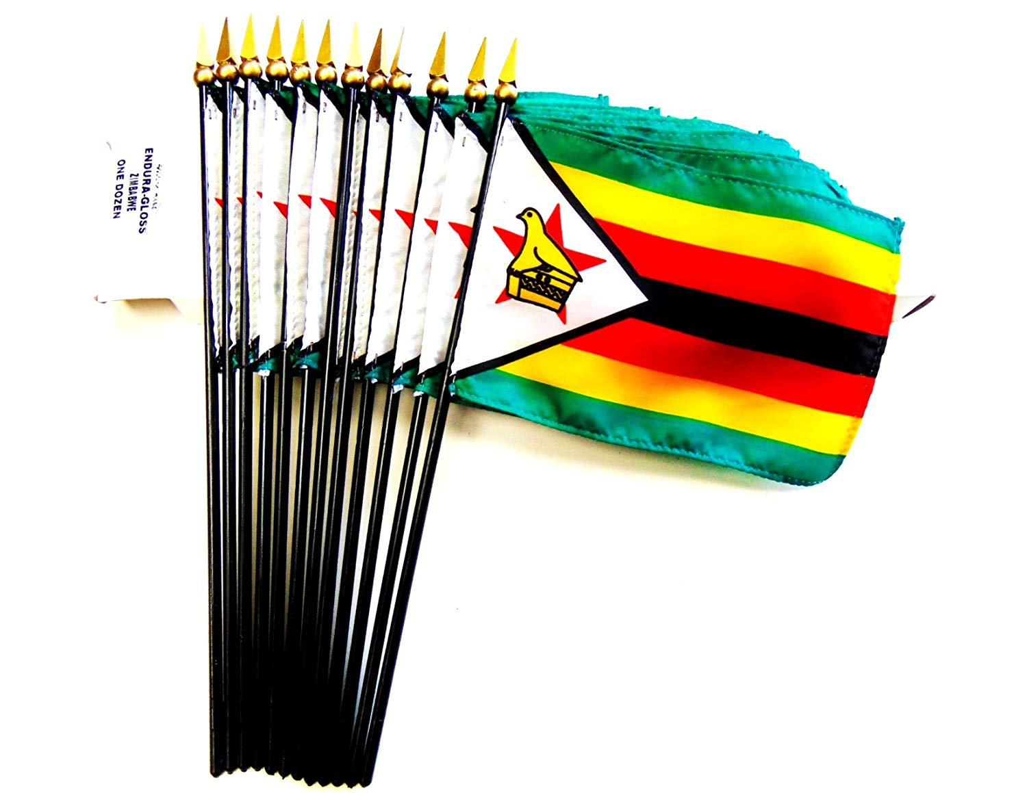 "MADE IN USA!! Box of 12 Zimbabwe 4""x6"" Miniature Desk & Table Flags; 12 American Made Small Mini Zimbabwe Flags in a Custom Made Cardboard Box Specifically Made for These Flags"