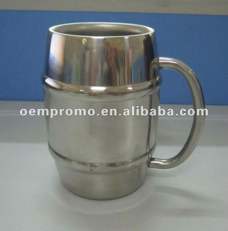 Double Wall Barrel Shaped Stainless Steel Beer Mug with customized logo