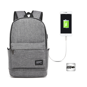 Outdoor Fashion Business Polyester Anti-Theft USB Charge Laptop Backpack Bag