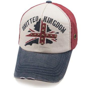72fda9dcd5ab43 Rivets Flag Printing Washed Cotton Strap Back Vintage Baseball Cap Hat