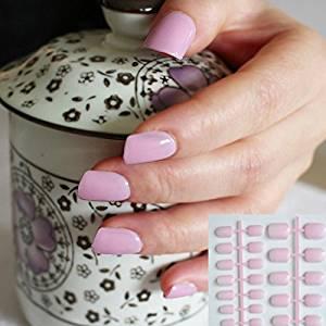 24pcs Princess Light Pink Fashion Candy Women False Nails Sparkly Nail Art Full Wrap Tips Salon DIY Product Wholesale 198