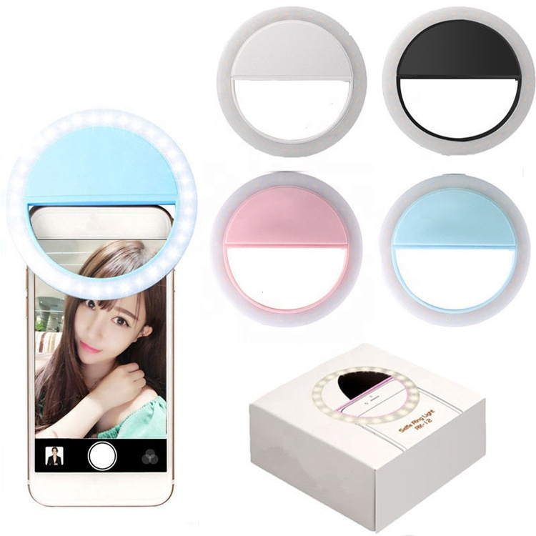 Universele USB Powered Oplaadbare LED Ring Selfie Licht voor Cellphone