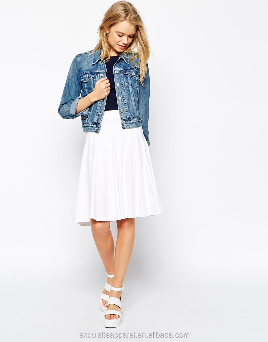 Custom White Elegant Midi Skirt Design For Girls/plain White ...