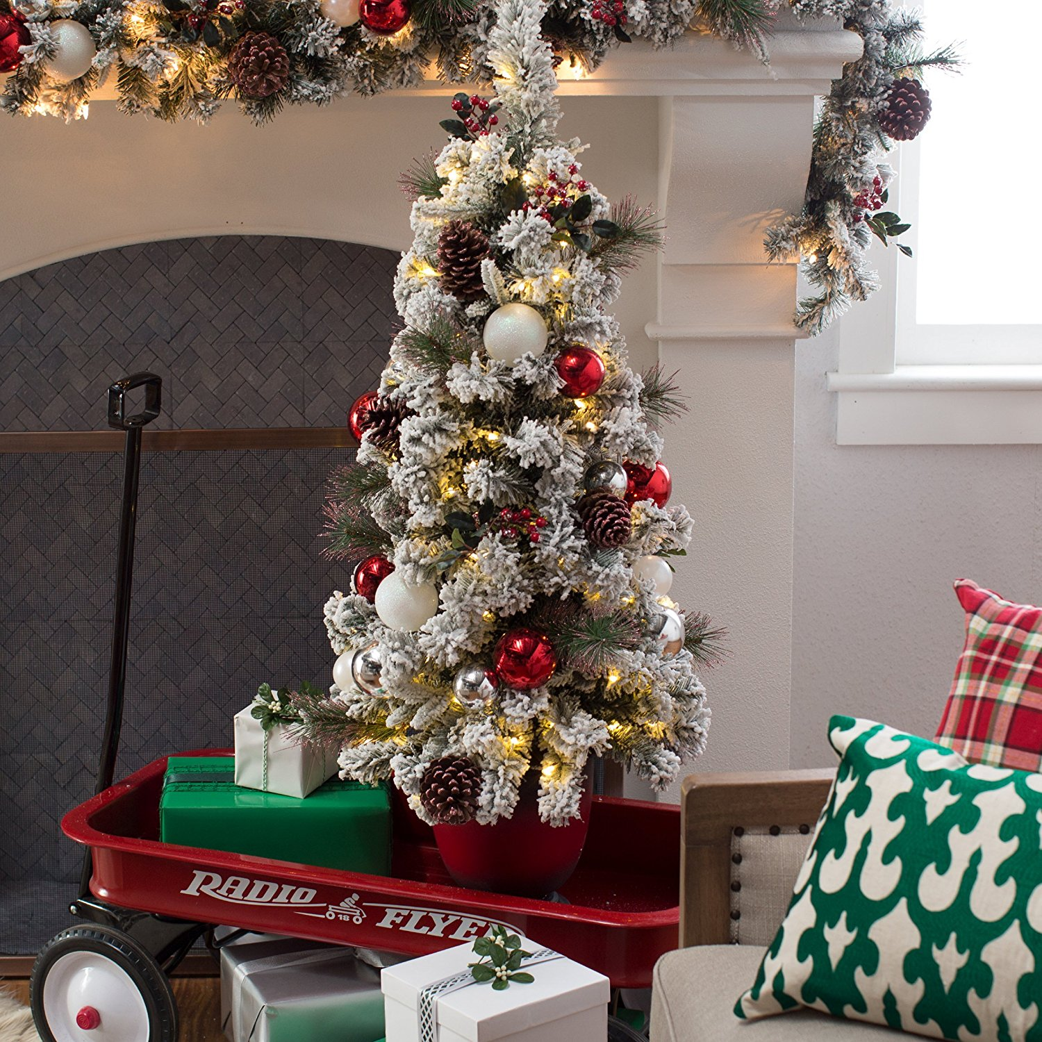 4 ft. Frosty Decorated Pre-Lit Battery Operated Christmas Trees - White, Green