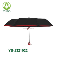 compact lightweight auto open 3 fold umbrella travel umbrella with piping