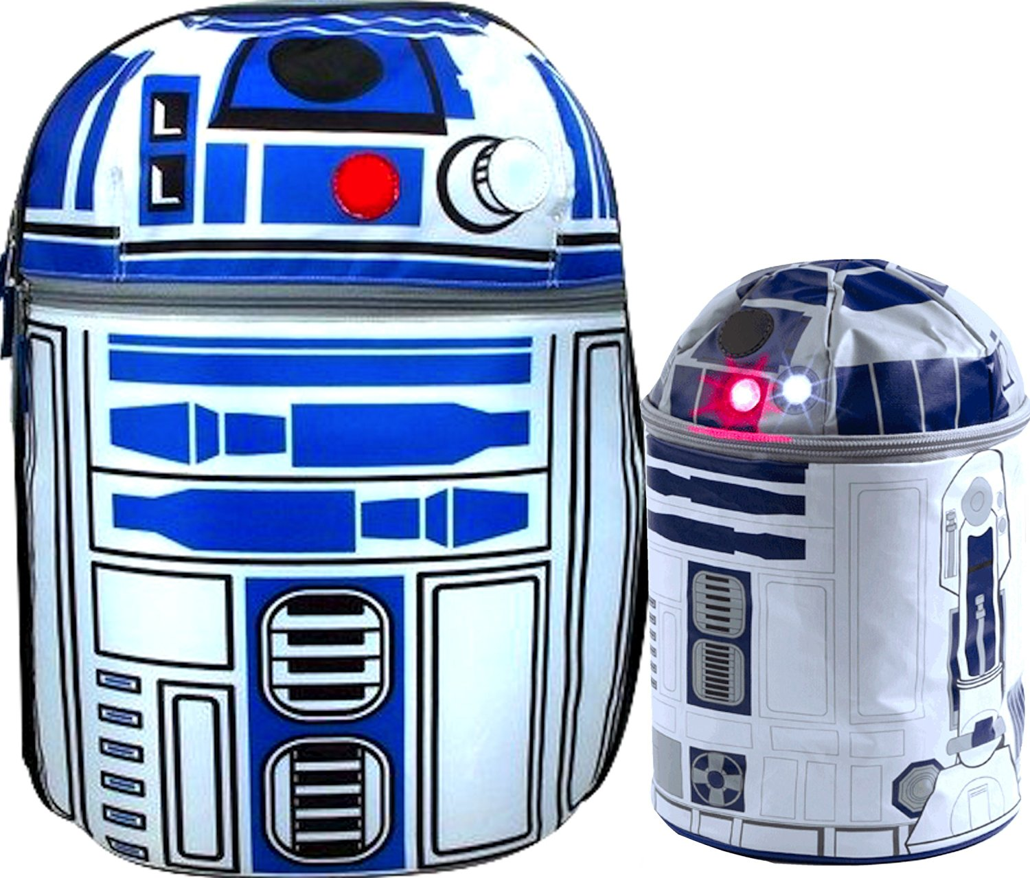 Star Wars R2d2 on Patrol 16 Backpack with Lights and Sounds Effects, with Star Wars R2-d2 Novelty Lunch Box Makes R2d2 Sounds Complete Star Wars Gift SET