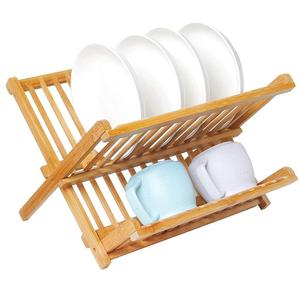 2 Tier Foldable Natural Wood Bamboo Dish Drying Rack