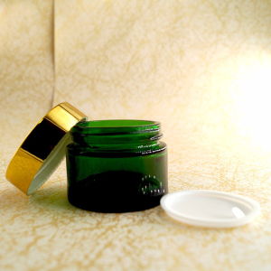 Skin care cream 30g 50g 100g glass cosmetic jar rose gold cap on sale