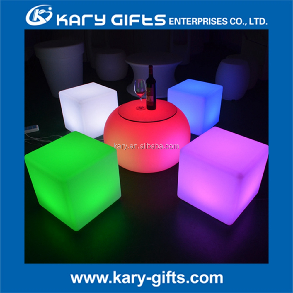 Outdoor Use 6 Colors Changing Plastic Bar Chair LED Light Cube Seats