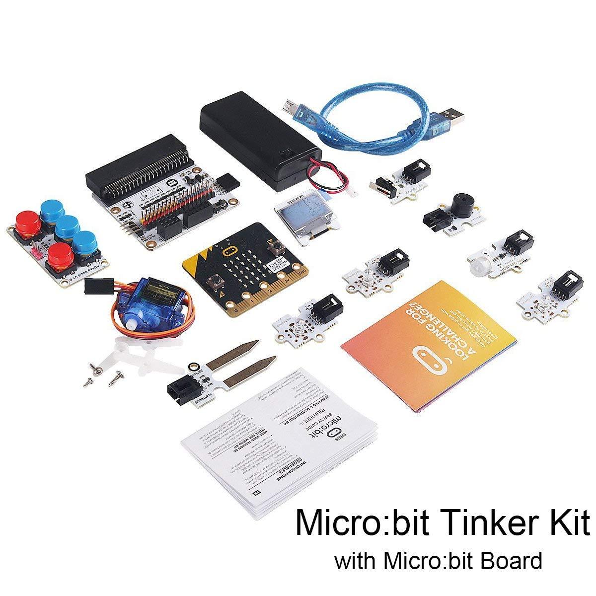 Micro:bit Tinker Kit w/Micro:bit Board, Include Micro:bit Breakout Board, OCTOPUS PIR Sensor Module for Classroom Teaching and DIY Beginners