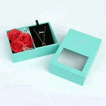 factory wholesale fashion jewelry package pendant ring half set velvet box with flower custom logo JBP557