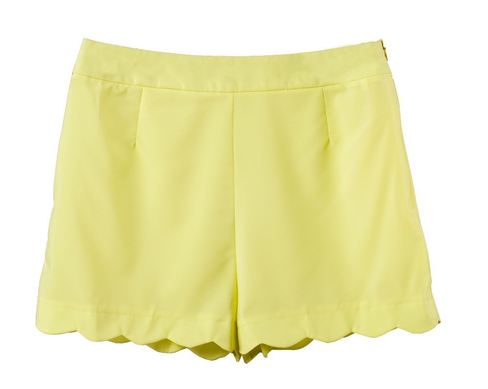 feminino shorts yellow high waist shorts ruffle skort hot spandex micro mini sexy 2015 summer style women cute cheap sale