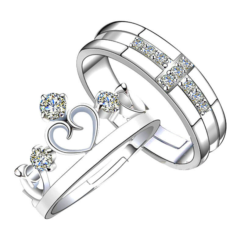Prince Princess Lover Silver Couple Rings Wedding Band His