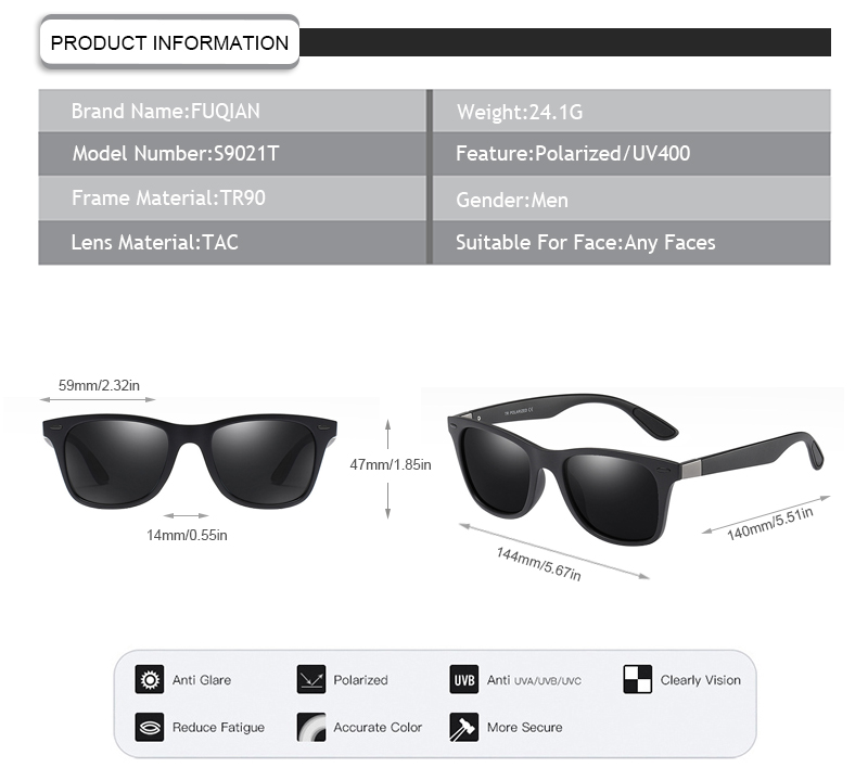 Fuqian custom square aviator sunglasses mens factory for running-7