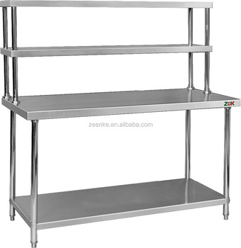 assembly 2 tier kitchen work table stainless steel kitchen worktable with top shelves for canteen