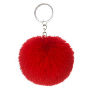 Wholesale low moq Factory Price faux Rex Rabbit Fur Ball Pom Keychain