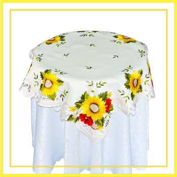 Polyester Table Covers With Sunflower Embroidery Pattern For Middle East Party City