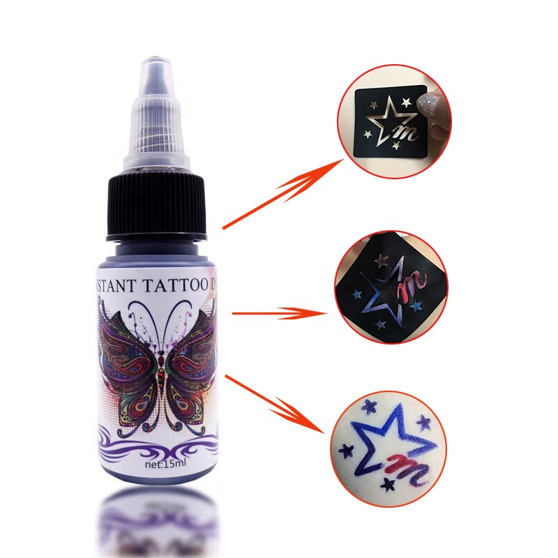 Cool Schwarz Blau Grün Lila Rot Gelb 15 ML Bunte Body Ink Tattoo Ink Temporäre Pigment Tattoo Set Mit Aufkleber
