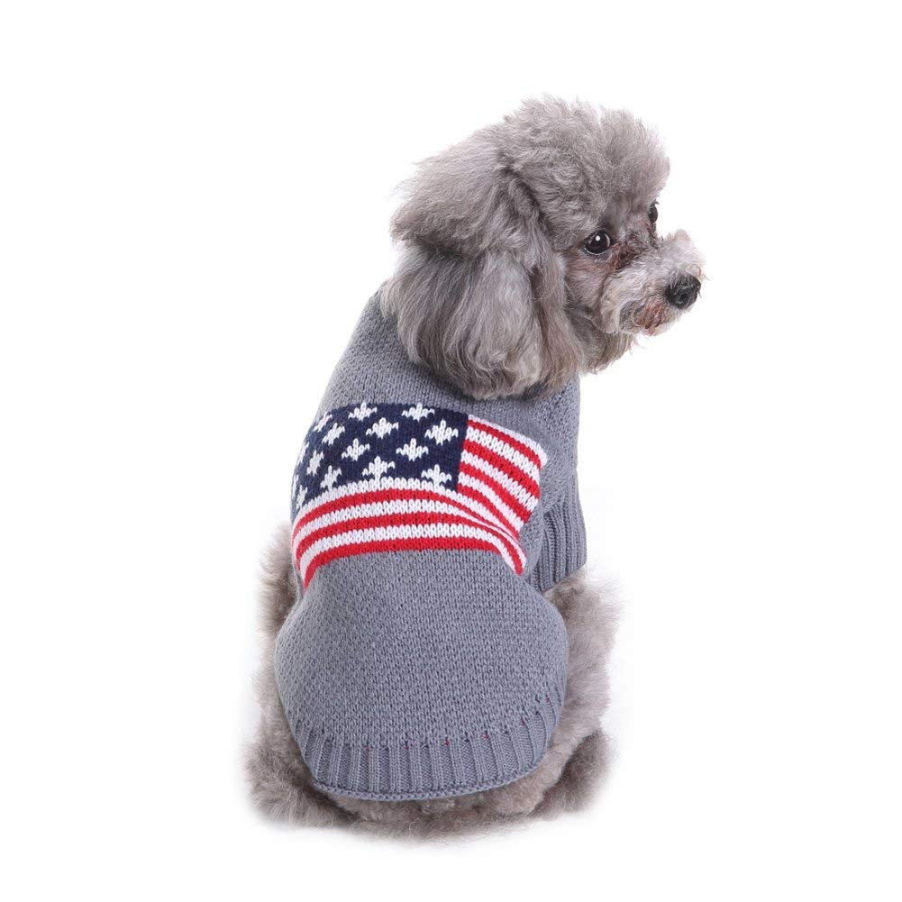 729c39a9b46a Get Quotations · Dog Warm Jumper Sweater American Flag Pattern Pet Dog  Sweater Dog Warm Jumper Coat in Autumn