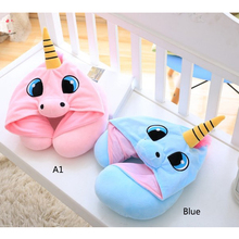 Office Airplane Hooded Neck Pillow Cushion Cartoon Unicorn Neck Pillow For Sleep