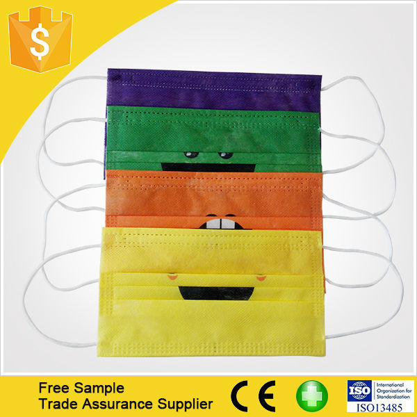 Hot Selling Disposable Non Woven Cartoon Kid's Face Mask For Children