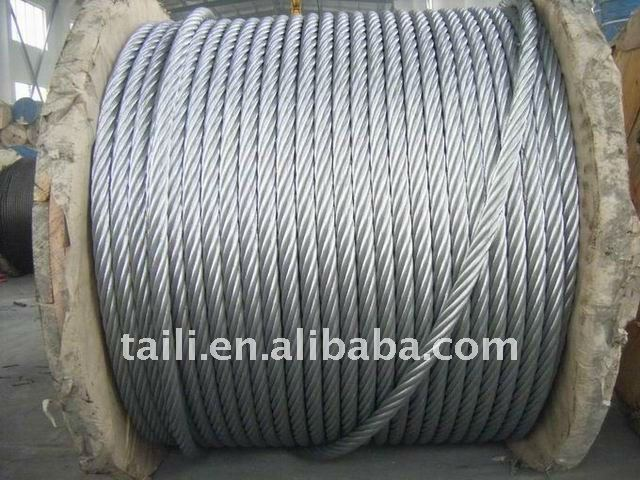 6*7+FC/IWS ungalv./galvanized steel wire rope, preformed, T/S: 160, 170, 180, 190kg/mm2