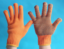 Hot sale Orange knitted working gloves coated with bigger pvc dots fashion knitted funky gloves