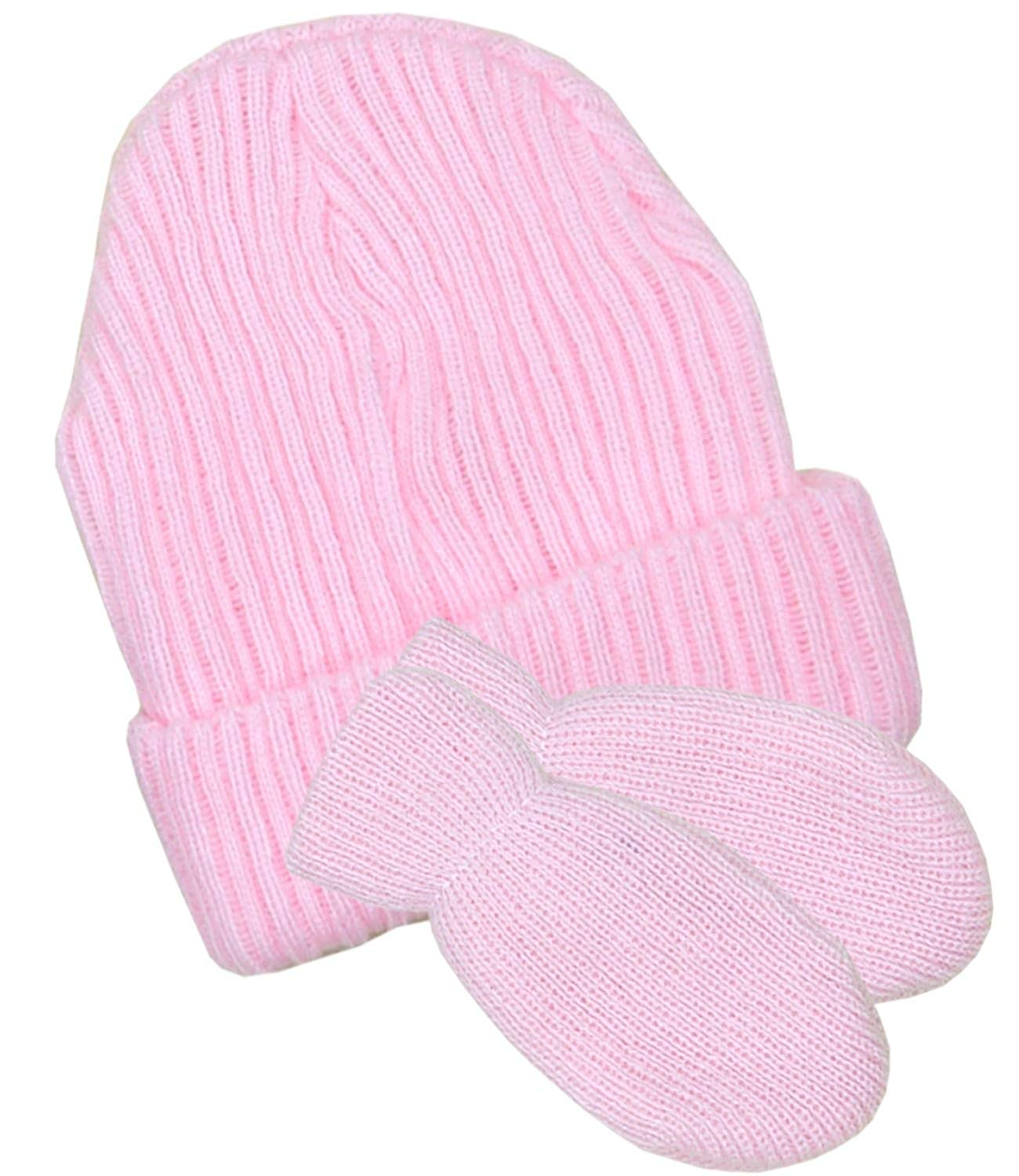 BabyPrem Baby Hat & Mittens Set Winter Clothes Knitted Pink Blue White Boy Girl